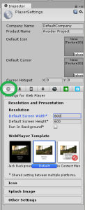 Player Settings in Inspector